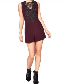 Miss Selfridge Petite Burgundy Lace Playsuit