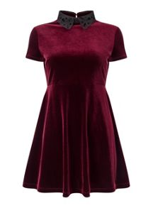 Miss Selfridge Petite Burgundy Velvet Dress