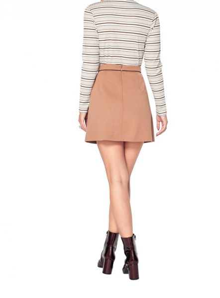 Miss Selfridge Petite Camel A-Line Mini Skirt