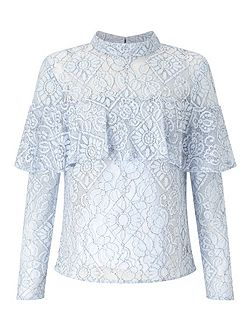 Blue Lace Frill Blouse