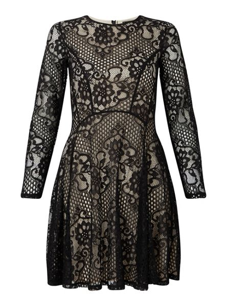 Miss Selfridge Black Long Sleeve Lace Skater