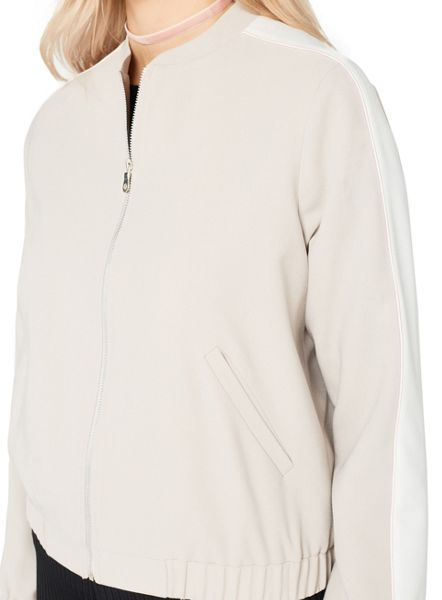 Miss Selfridge Grey Sports Bomber Jacket