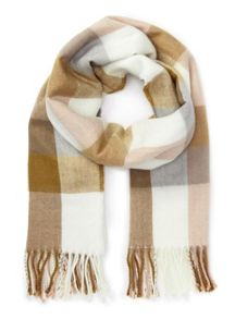 Miss Selfridge Gingam pink cream camel scarf