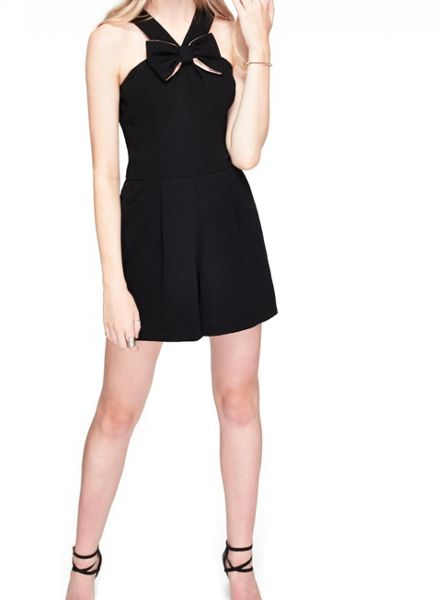 Miss Selfridge Black Bow Front Playsuit