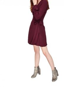 Miss Selfridge Burgundy Wrap Belted Dress