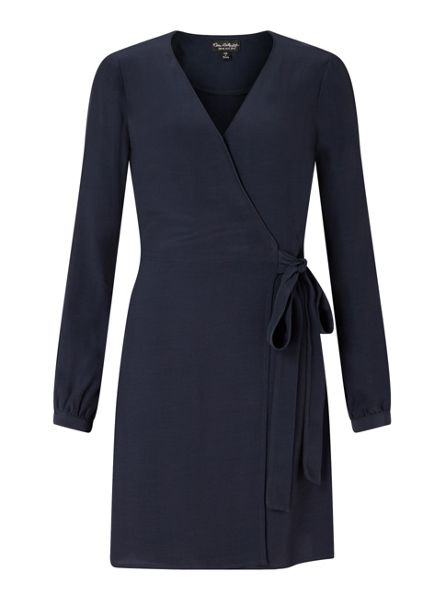 Miss Selfridge Navy Wrap Belted Dress