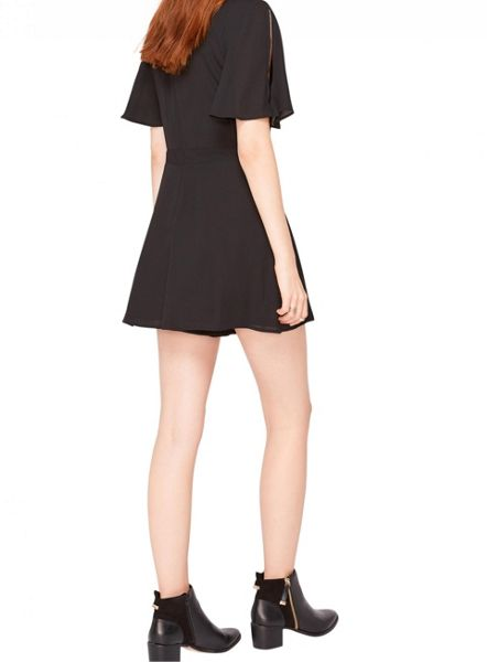 Miss Selfridge Black Angel Sleeve Playsuit