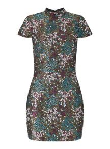Miss Selfridge High Neck Jacquard Prom Dress
