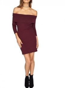 Miss Selfridge Burgundy Rib Bardot Dress