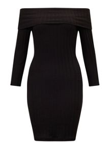 Miss Selfridge Black Ribbed Bardot Dress