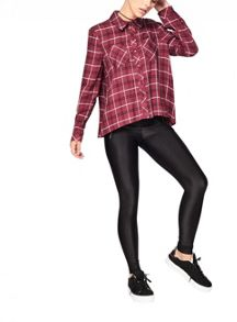 Miss Selfridge Petite Burgundy Check Shirt