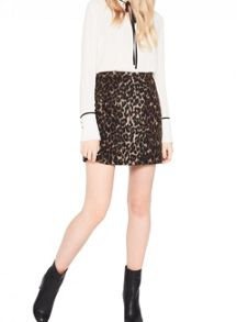 Miss Selfridge Brushed Animal Print Skirt