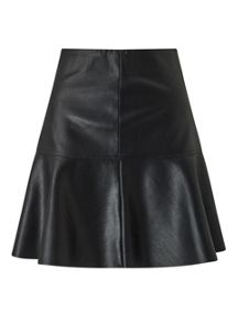 Miss Selfridge Black Peplum Pu Skirt