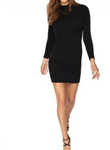 Miss Selfridge Petite High Neck Rib Bodycon