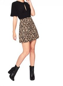 Miss Selfridge Petite Animal Print Mini Skirt
