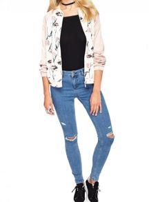 Miss Selfridge Nude Floral Bomber Jacket