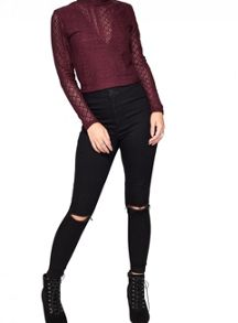 Miss Selfridge Petite Lace High Neck Top