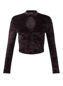 Miss Selfridge Petite Velvet Long Sleeve Top