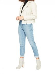 Miss Selfridge Grey Pu Biker Jacket
