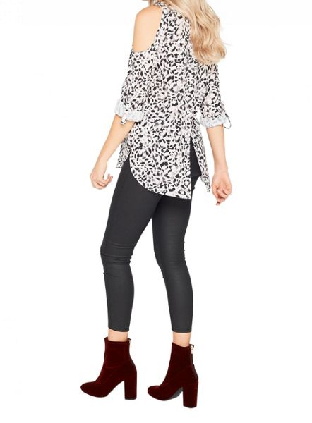 Miss Selfridge Leopard Cold Shoulder Shirt