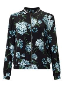 Miss Selfridge Black Floral Bomber Jacket