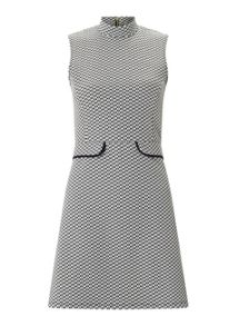 Miss Selfridge Petite Mono Jacquard Dress