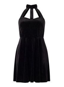 Miss Selfridge Petite Velvet Skater Dress