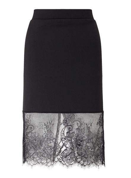 Miss Selfridge Black Lace Hemi Skirt