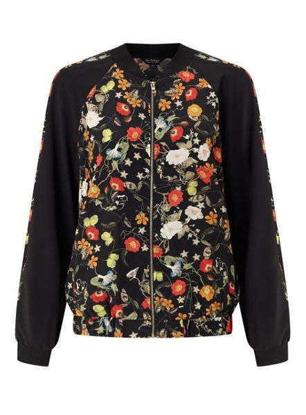 Miss Selfridge Poppy Print Bomber Jacket