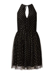 Miss Selfridge Gold Spot Mesh Prom Dress