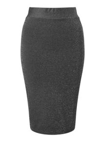 Miss Selfridge Silver Lurex Pencil Skirt