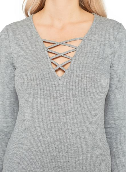 Miss Selfridge Grey Rib Fixed Lattice Top