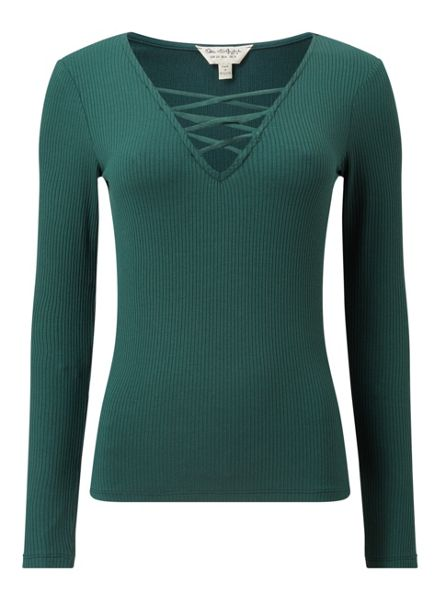 Miss Selfridge Green Long Sleeve Lattice Top