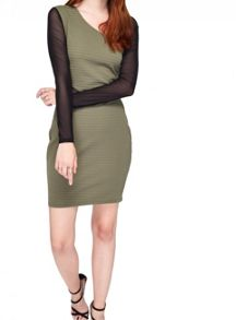 Miss Selfridge Khaki Rib Mesh Insert Dress