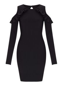 Miss Selfridge Black Cold Shoulder Dress