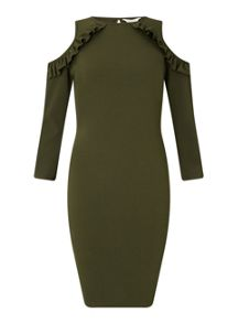 Miss Selfridge Khaki Cold Shoulder Dress