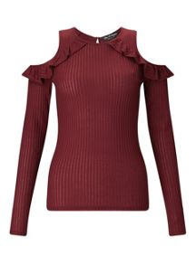 Miss Selfridge Burgundy Cold Shoulder Top