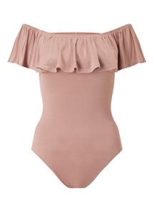 Miss Selfridge Nude Bardot Ruffle Body