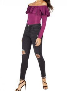Miss Selfridge Purple Long Sleeve Ruffle Body