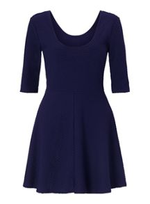 Miss Selfridge Navy Textured Skater Dress