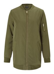 Miss Selfridge Khaki Longline Bomber Jacket