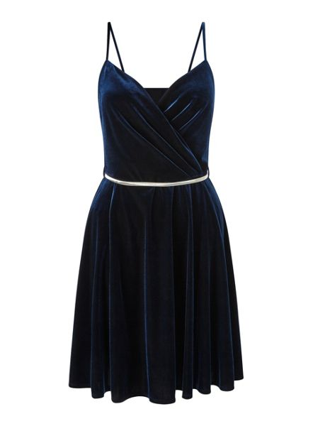 Miss Selfridge Navy Velvet Strappy Dress