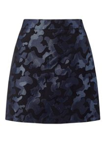 Miss Selfridge Camo Jacquard Mini Skirt Blue