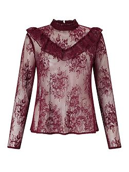 Burgundy Lace Ruffle Blouse