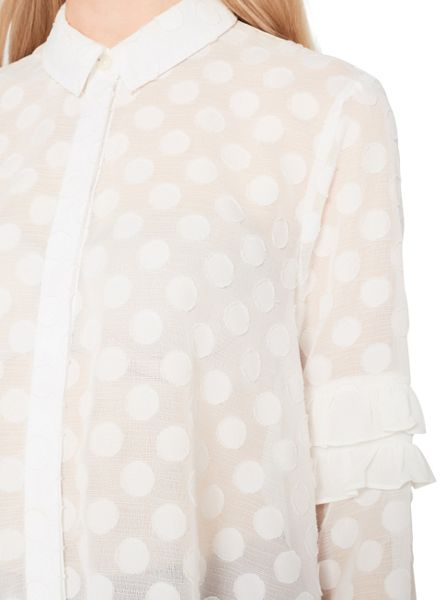 Miss Selfridge Polka Frill Sleeve Blouse