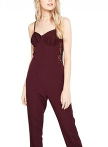Miss Selfridge Burgandy Lace Corset Jumpsuit