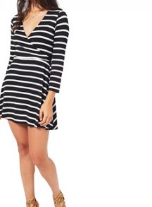 Miss Selfridge Petite Stripe Wrap Dress