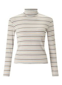 Miss Selfridge Petite Stripe Rollneck Top