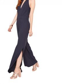 Miss Selfridge Navy High Neck Slip Jumpsuit