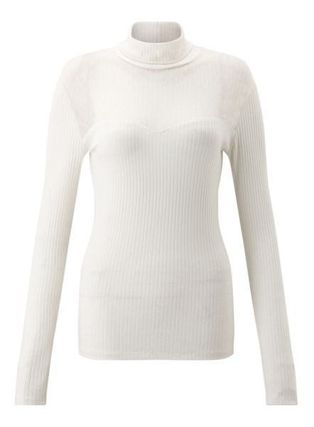 Miss Selfridge Cream Mesh Turtle Neck Top